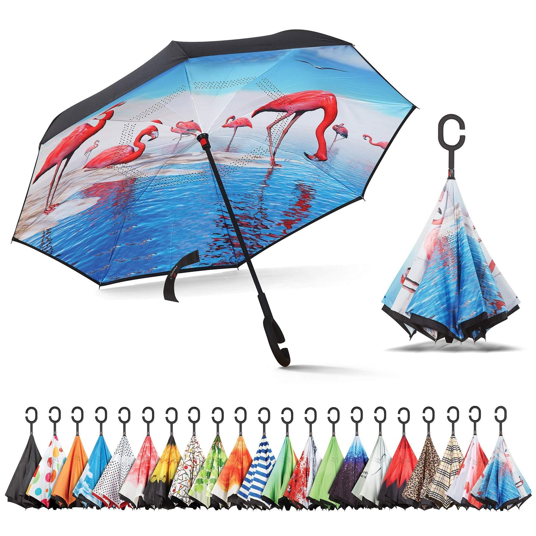 Sharpty Inverted Umbrella, Umbrella Windproof, Reverse Umbrella, Beautiful Umbrellas, Upside Down Umbrellas with C-Shaped Handle (Swan)