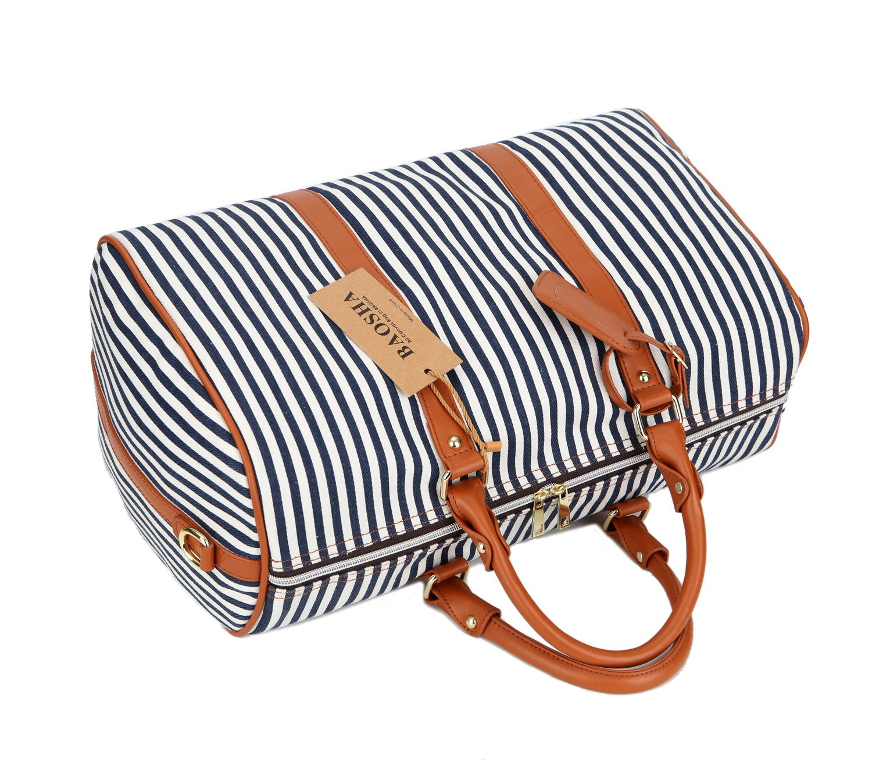 Black BAOSHA HB-24 Ladies Women Canvas Weekender Bag Travel Duffel Tote Bag Weekend Overnight Travel Bag
