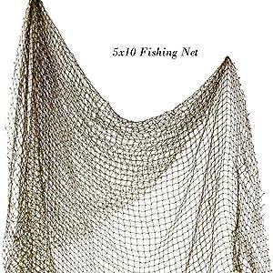 Nautical Decorative Fish Net 5' x 10' | Authentic Nautical Fishing Net | Plus Free Nautical eBook by Joseph Rains (1 Pack)