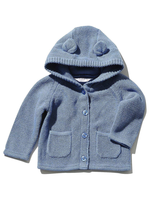 M&Co Newborn Baby Boy Blue 100% Cotton Long Sleeve Button Front Bear Ear Hood Cardigan