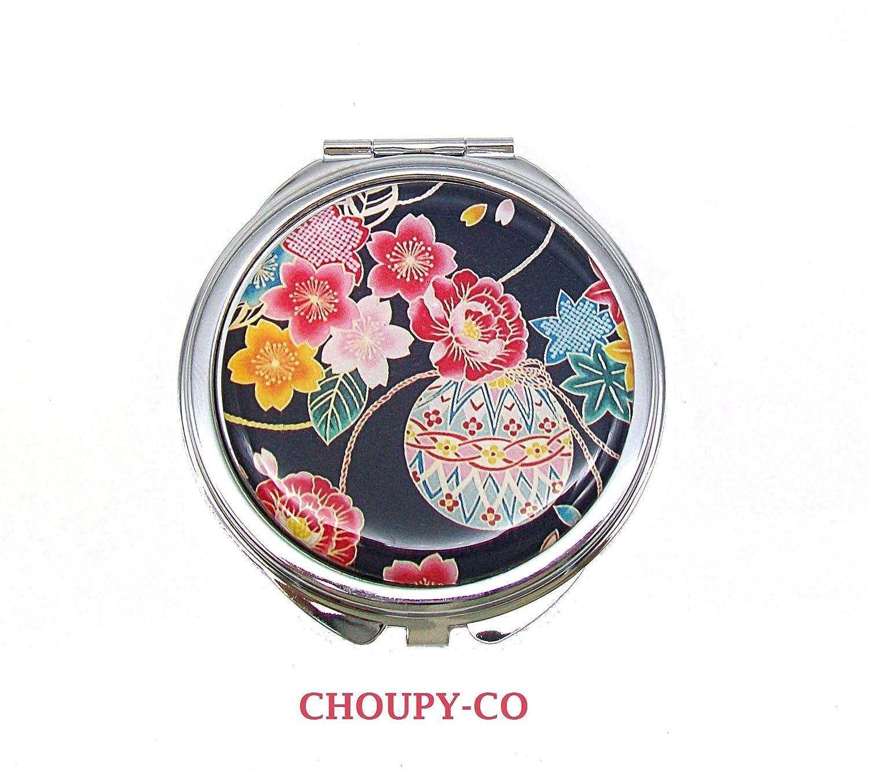 Miroir de poche rond cabochon * fleurs du Japon * noir rose bleu motif fleuri argenté résine miroir de sac fantaisie femme idée cadeau anniversaire fête noël