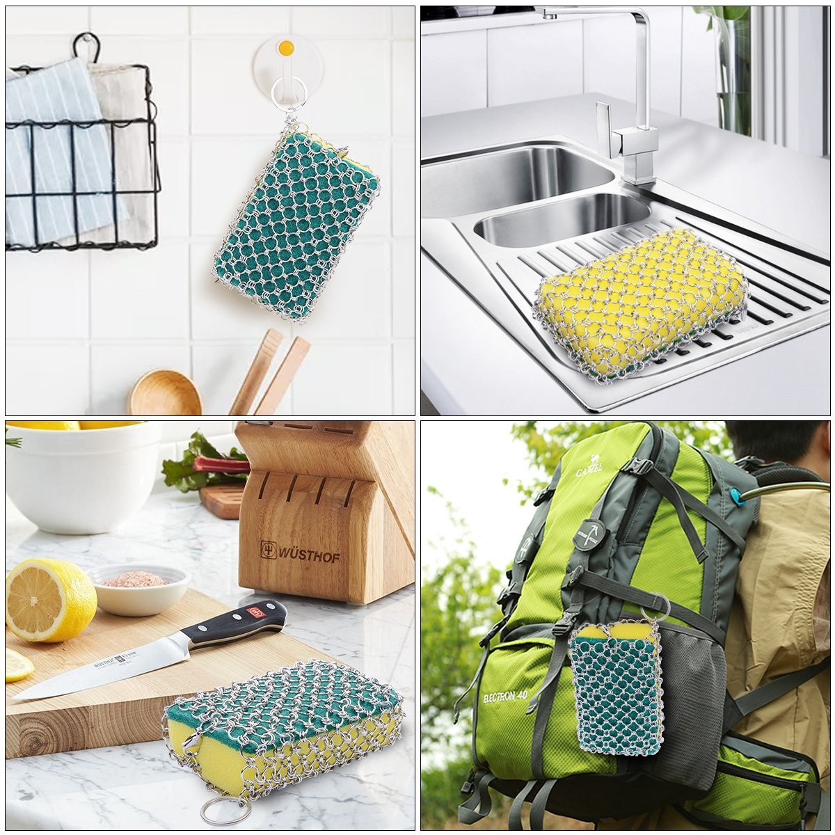 Cast Iron Cleaner,Robao Stainless Steel Cast Iron Chainmail Scrubber + 3pcs Sponges for Cast Iron Pan Cookware Scraper Cast Iron Grill Scraper Skillet Scraper