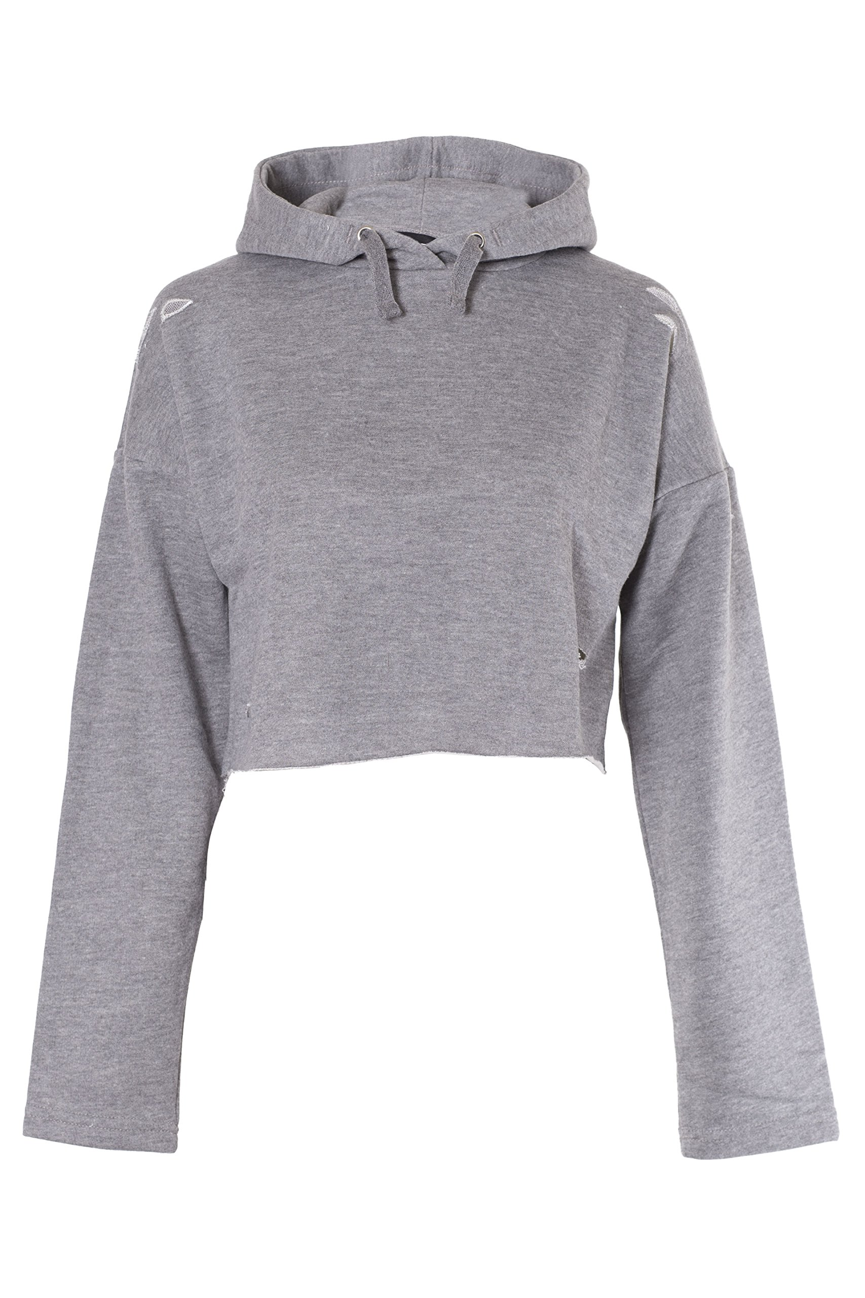 Noroze Girls Plain Crop Top Ripped Hoodie (Charcoal, 9-10 Years)