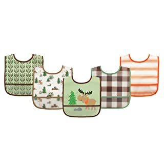 Luvable Friends Unisex Baby Waterproof PEVA Bibs, Moose, One Size