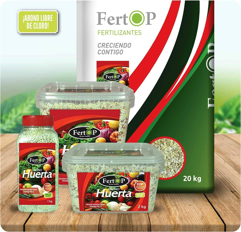 FertOP® - Abono Huerta, Fertilizante Granulado de Liberación Lenta, 3 Meses. (Envase 1Kg)