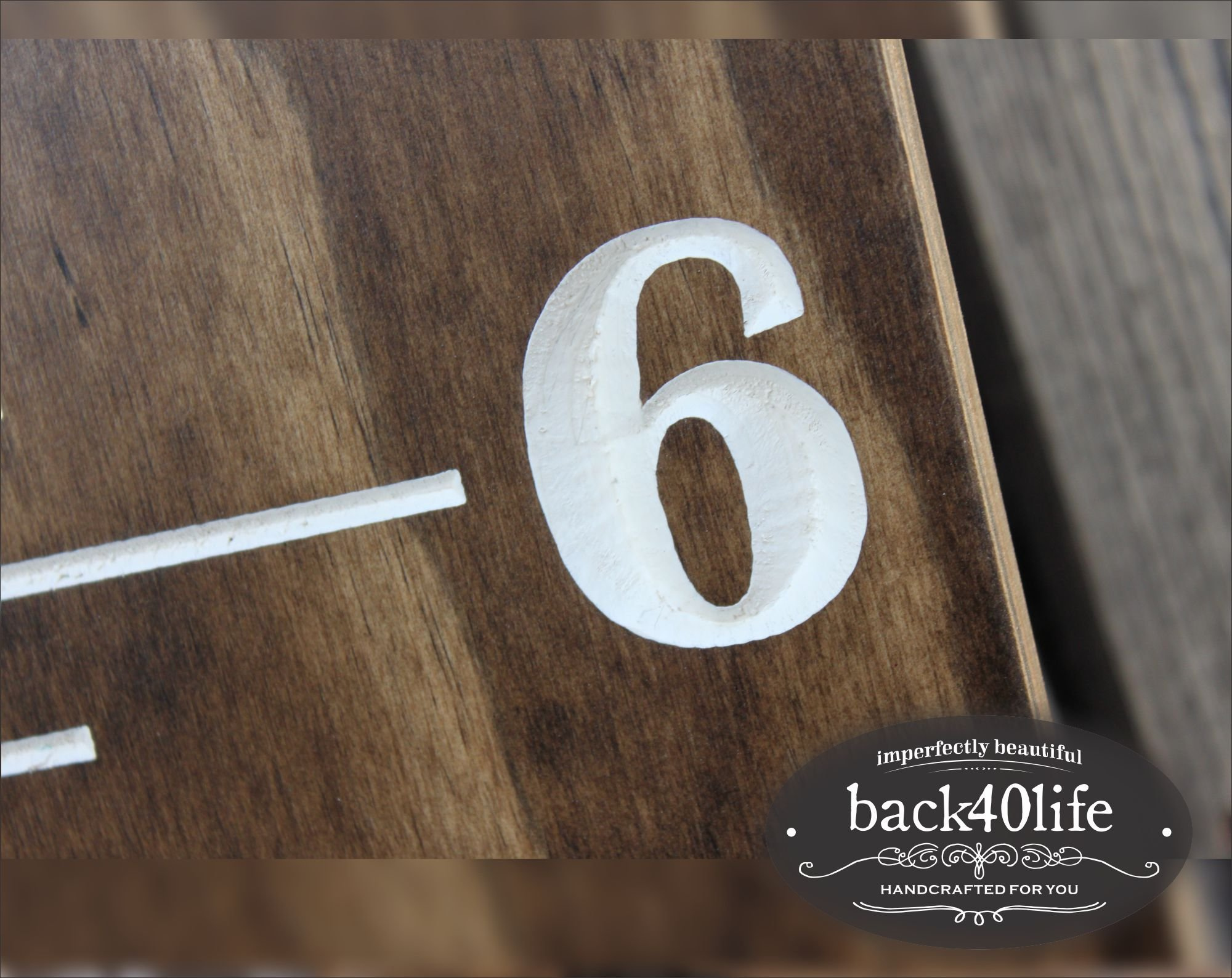 Back40Life | 60'' Premium Engraved Wooden Growth Height Chart Ruler - The Establishment (Dark Walnut + Antique White) by Back40Life (Image #2)