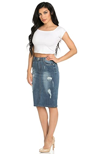 Distressed Stretch Denim High Waisted Knee Length Pencil Skirt at ...