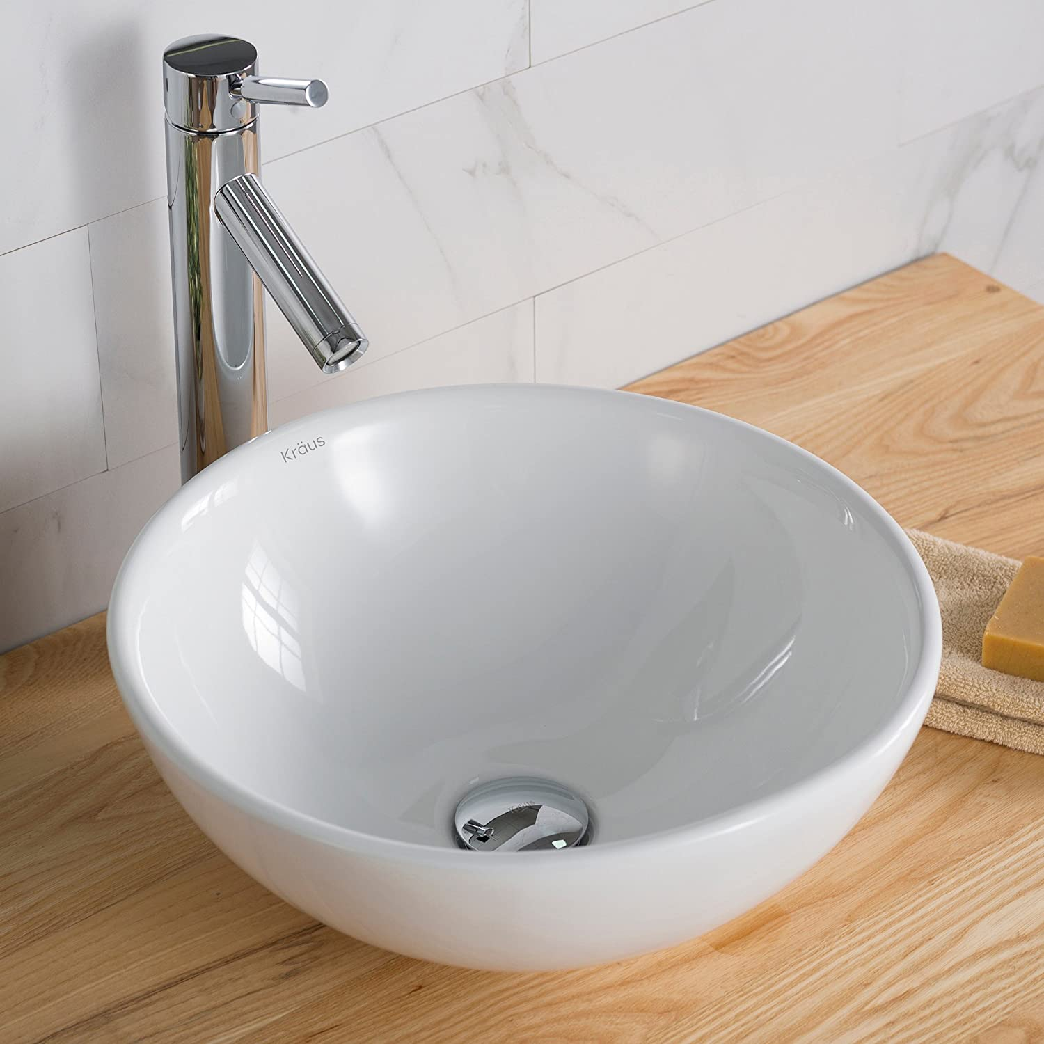 KOHLER K-19029-1-47 Escale Self-Rimming Bathroom Sink with Single-Hole Faucet Drilling, Almond