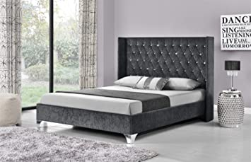 Unmatchable Wing Back Bed Frame Upholstered Fabric Velvet Chenille Double  King Size (Charcoal Chenille,