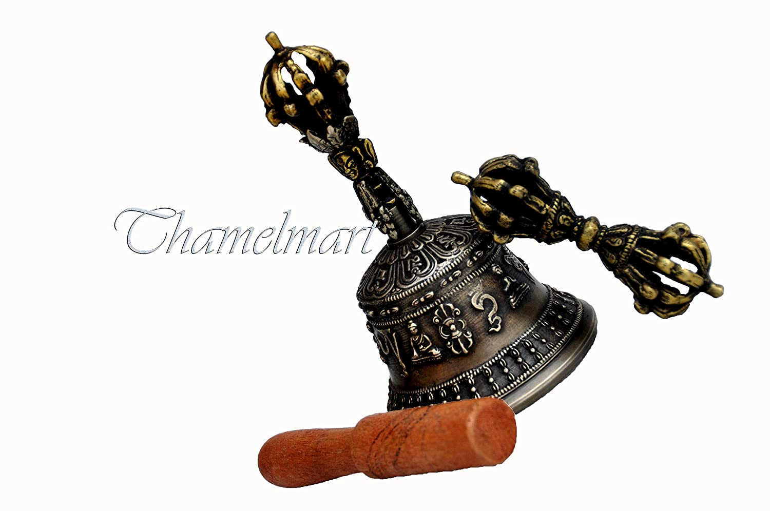 Tibetan Buddhist Meditation Bell and Dorje Set - Bell of Enlightenment from Nepal 6 Inches thamelmart 4334197947