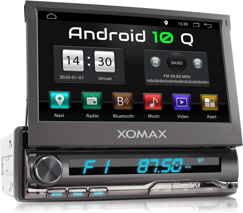 XOMAX XM-VA774 Radio de Coche con Android 10 I Quad Core, 2GB RAM, 32GB ROM I GPS I Soporte WiFi, 3G, 4G, Dab+, OBD2 I Bluetooth I 7