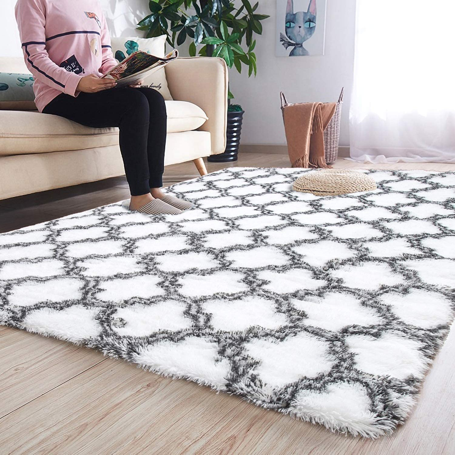 Noahas 5' x 8' Soft Area Rugs for Bedroom Living Room Shaggy Patterned Fluffy Carpets for Nursery Baby Rooms Silky Smooth Fuzzy Kids Play Mats Christmas Thanksgiving Holiday Decor Rug, White Trellis