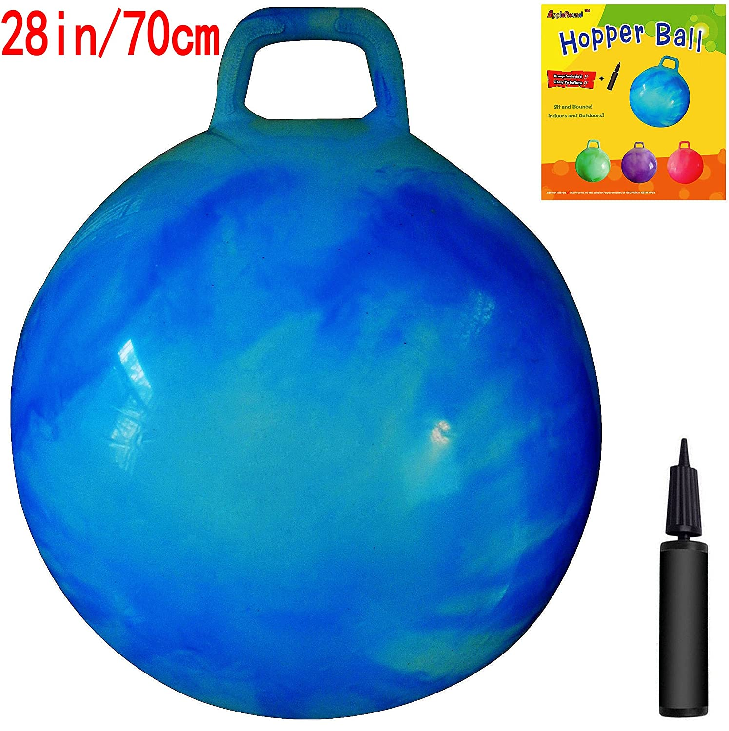 AppleRound Space Hopper Ball 28in 70cm Diameter for Age 13 Pump Included Hop Ball Kangaroo Bouncer Hoppity Hop Sit and Bounce Jumping Ball