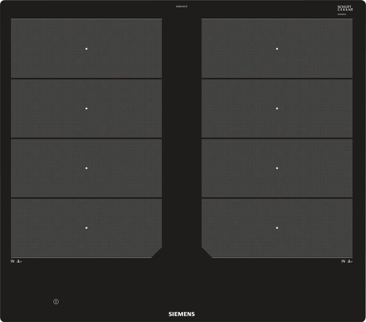 Siemens ex601lxc1e iQ700 hobs eléctrico/vitrocerámica/vidrio y cerámica/57,2 cm/Flexible de zonas – 2 varioinduktions de zonas de cocción/Negro