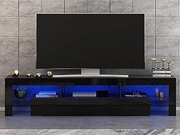 CTlite - Mueble de TV con LED RGB de 2000 mm de alto brillo para salón y dormitorio, color negro, 200 cm: Amazon.es: Hogar