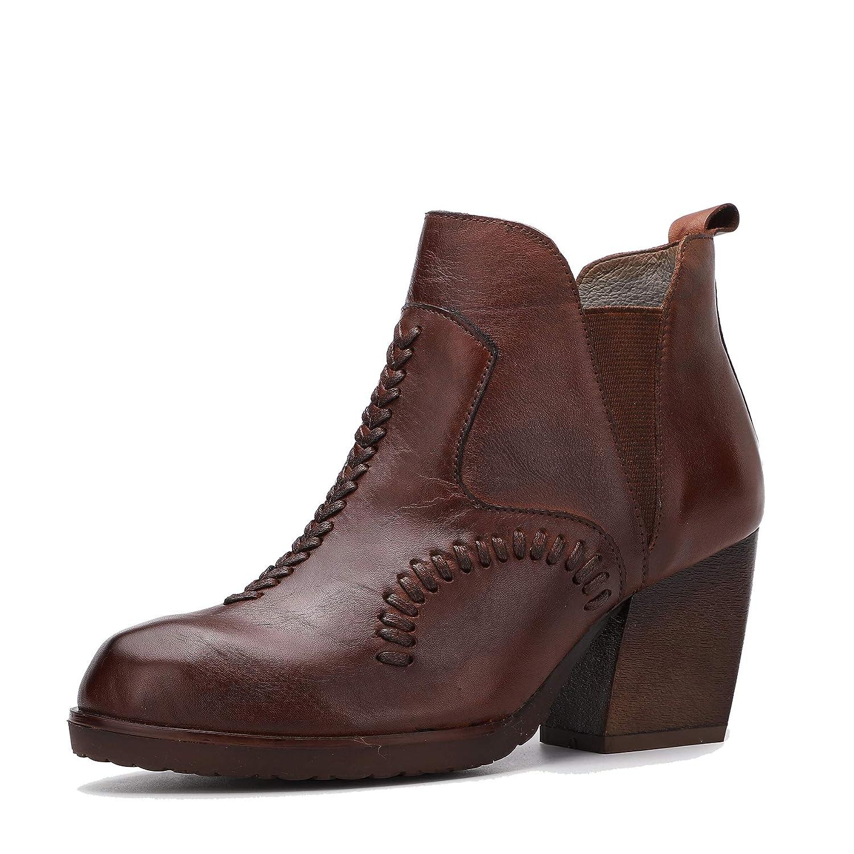 Botines de tacón Alto y Bloque de Mujer Zapatos de Cuero genuinos de Moda y Casuales Botas Redondas: Amazon.es: Zapatos y complementos