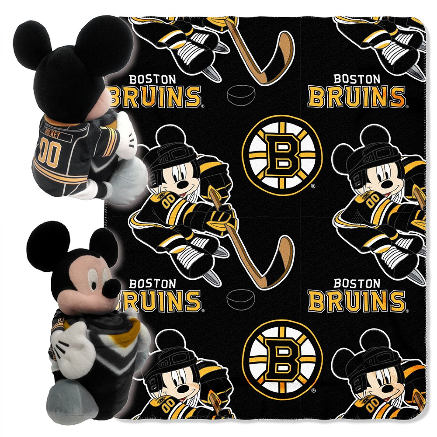 """Officially Licensed NHL """"Ice Warriors"""" Co-Branded Disney's Mickey Mouse Hugger and Fleece Throw Blanket Set, 40"""" x 50"""", Multi Color"""
