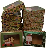 Christmas Doughnut and Cookie Gift Boxes; Rectangle with Clear Window; Brown Kraft with hot Stamp Christmas Designs; 6…