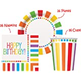 """Rainbow Birthday Party set Supplies for 16 guests - 16 Plates 9"""", 16 Cups 9"""" and 16 Napkins"""