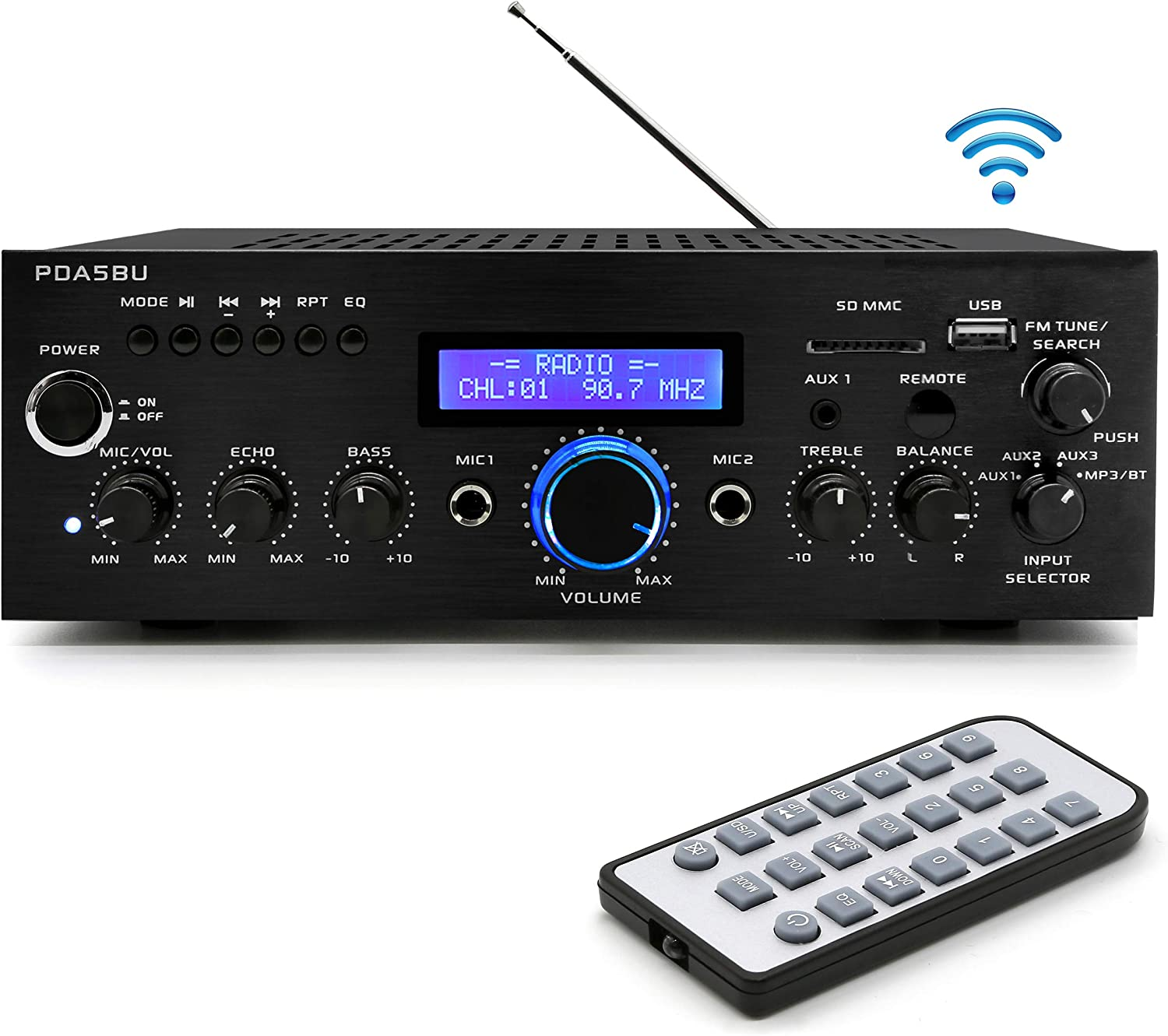 Pyle200W Audio Stereo Receiver - Wireless Bluetooth Home Power Amplifier Home Entertainment System w/ AUX IN, USB Port, DVD CD Player, AM FM Radio, 2 Karaoke Microphone Input, Remote - PDA5BU.0