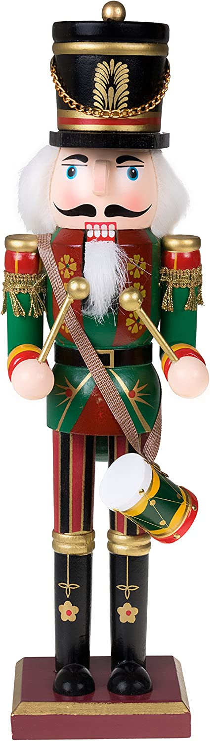 "Clever Creations Traditional Drummer Soldier Nutcracker Wearing Green Uniform with Drum | Collectible Wooden Christmas Nutcracker | Festive Holiday Decor |100% Wood | 12"" Tall"