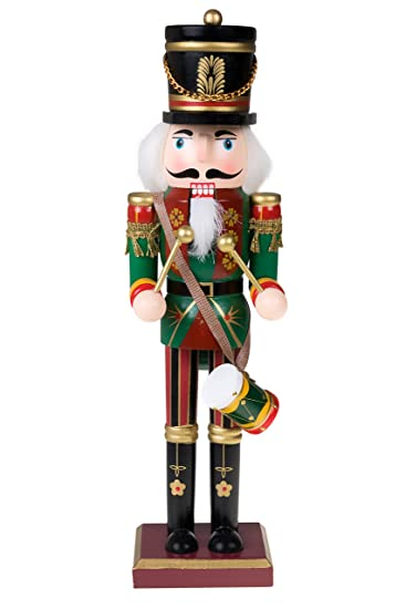 Christmas Drummer.Clever Creations Traditional Drummer Soldier Nutcracker Wearing Green Uniform With Drum Collectible Wooden Christmas Nutcracker Festive Holiday
