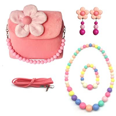 Elesa Miracle Little Girl Handbag Beauty Set Plush Handbag + Flower-Shaped Clip-on Earrings + Necklace and Bracelet Set (Pink): Toys & Games