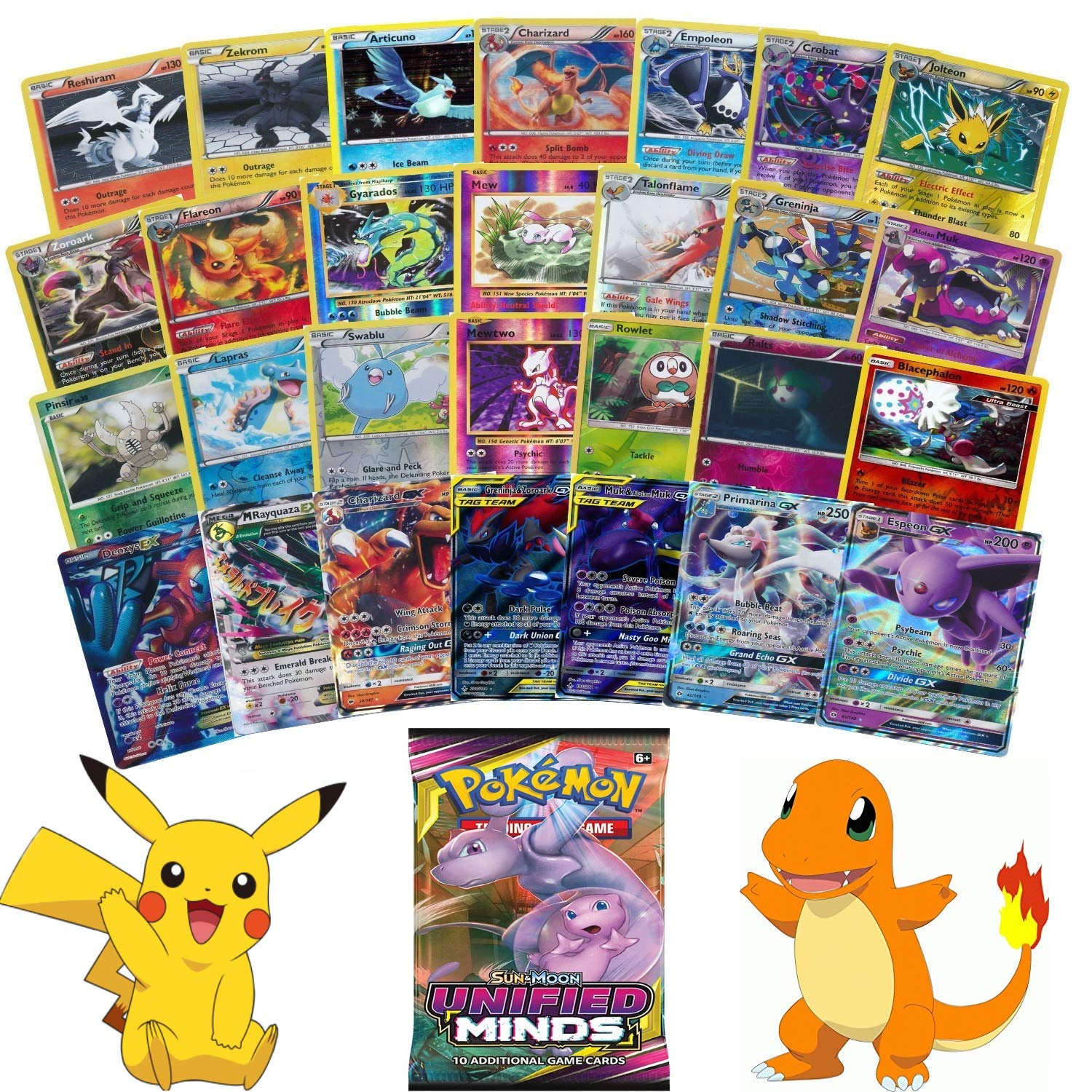20 Pokemon Cards All Holo with One Guaranteed GX/EX Card Plus One Sealed Booster Pack! Exclusive JT Corp Pokemon Sticker Included! by JT Corp