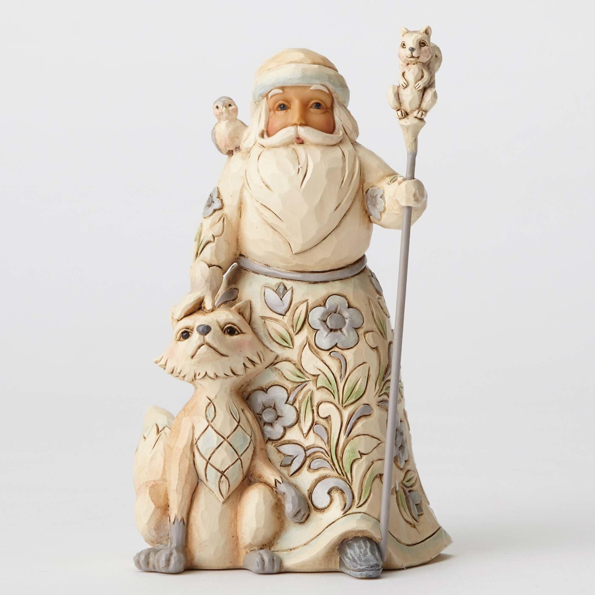 "Enesco Jim Shore Heartwood Creek White Woodland Santa with Fox Stone Resin Figurine, 5.25"""