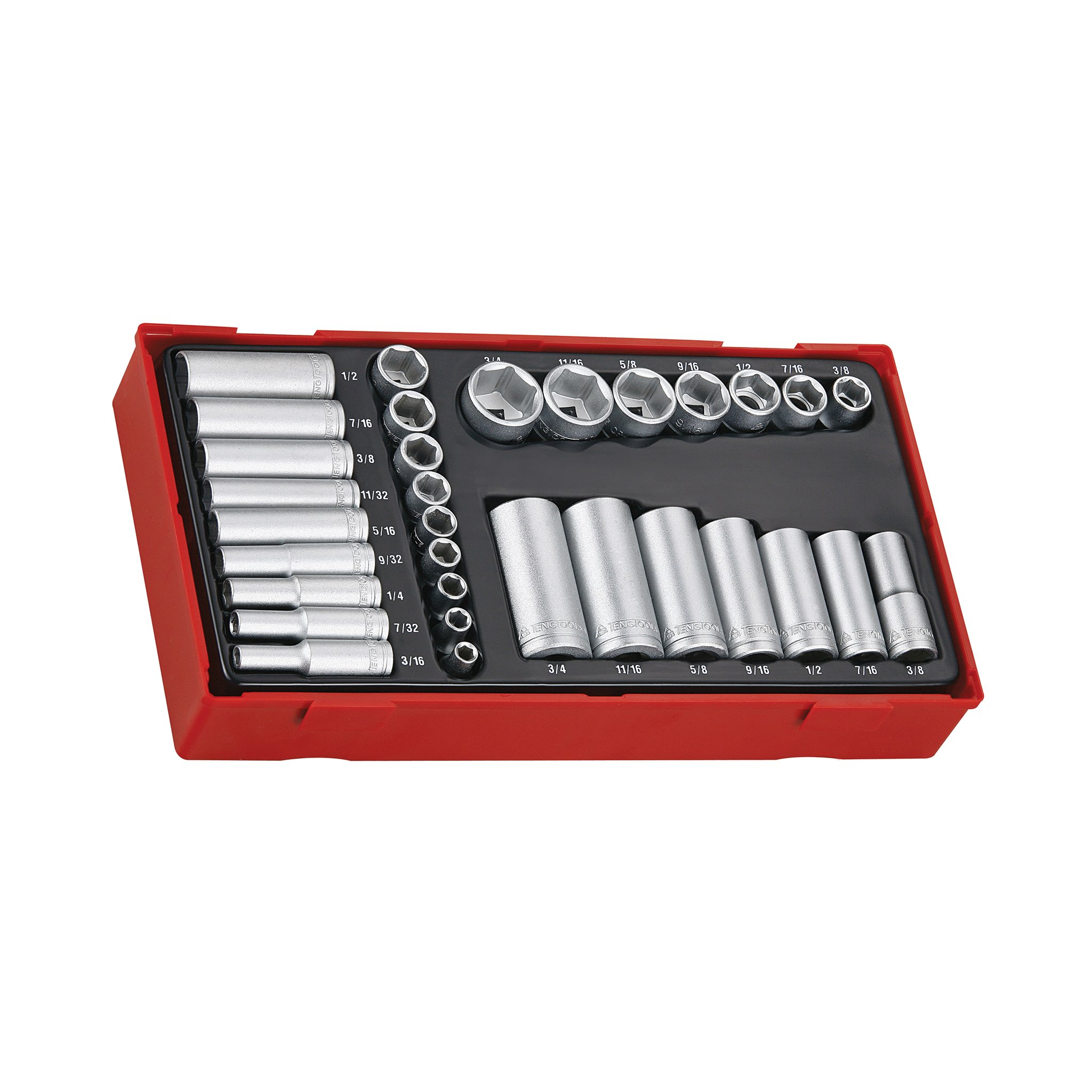 Teng Tools 32 Piece 1/4 Inch & 3/8 Inch Drive SAE 6 Point Regular/Shallow & Deep Socket Set - TTAF32 by Teng Tools