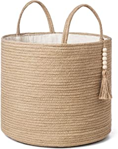 "Mkono Decorative Woven Storage Basket Natural Jute Rope Basket Wooden Bead Decoration for Blankets,Toys,Clothes,Shoes,Plant Organizer Bin with Handles Living Room Farmhouse Home Decor,16"" W × 13.8"" L"
