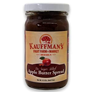 Kauffman's Fruit Farm Spiced Apple Butter, Homemade, No Sugar Added, Kosher, Non-GMO, Gluten Free. Perfect to use in Baking, As A Spread, or BBQ Sauce! 8.5 Oz. Jar (Case of 12)