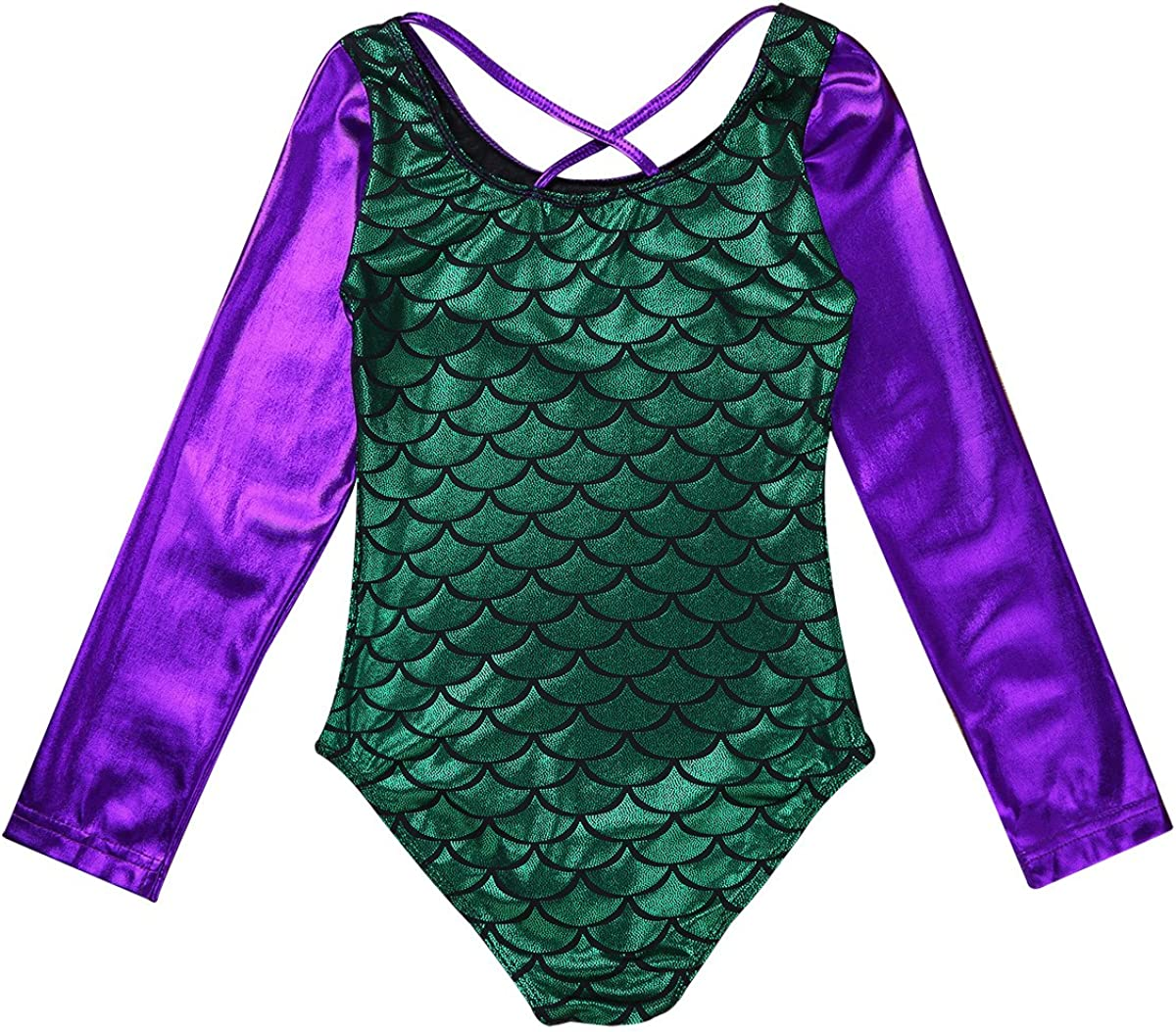 MSemis Kids Girls Mermaid Princess Costume Metallic Fishscale Long Sleeve Leotard Gymnastics Dance Athletic Outfit