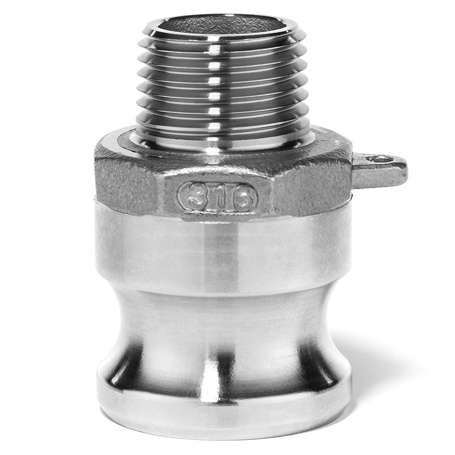 Type F 6 Adapter x 6 Male NPT USA SealingsCam and Groove Fitting 304 Stainless Steel
