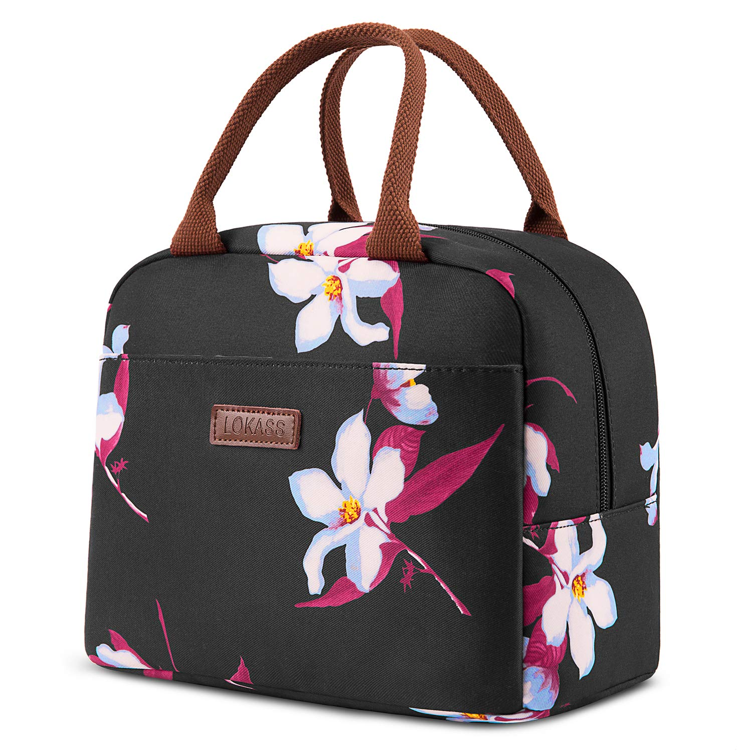 LOKASS Lunch Bag Cooler Bag Women Tote Bag Insulated Lunch Box Water-resistant Thermal Lunch Bag Soft Liner Lunch Bags for women/Picnic/Boating/Beach/Fishing/Work (Black)