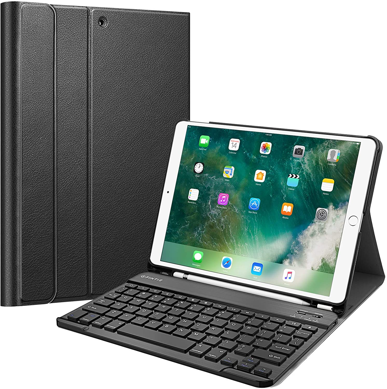 "Fintie Keyboard Case for iPad Air 3rd Gen 10.5"" 2019 / iPad Pro 10.5"" 2017 - SlimShell Stand Protective Cover w/Magnetically Detachable Wireless Bluetooth Keyboard and Pencil Holder, Black"