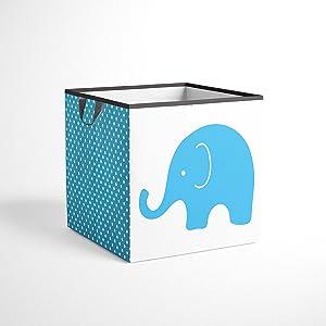 Bacati Elephants Storage Tote Basket, Aqua/Lime/Grey, Small