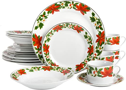 Gibson Poinsettia Holiday Dinnerware Set 20 Piece White Christmas China Kitchen Dining