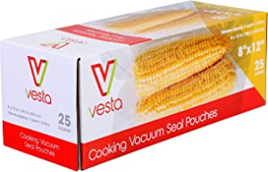 Vacuum Seal Pouches by Vesta Precision | Clear and Embossed Vacuum Sealer Bags | Standard | 8 x 12 inches | 25 Vacuum Bags per Box