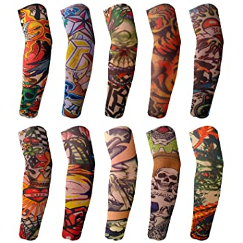 fe782256a Amazon.com: BodyJ4You 10PC Fake Tattoo Sleeve Temporary Arm Cover ...