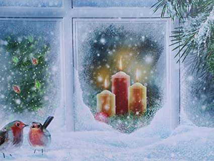 Christmas Scene.Christmas Snowy Candle Scene Led Canvas Print Comes Alive With Illumination