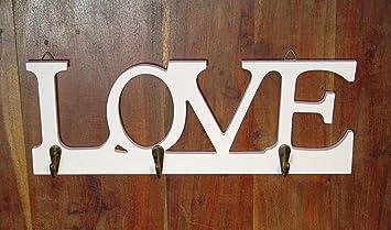 Colgador de llaves llave barra toallero para toalla blanco madera perchero con mensaje LOVE
