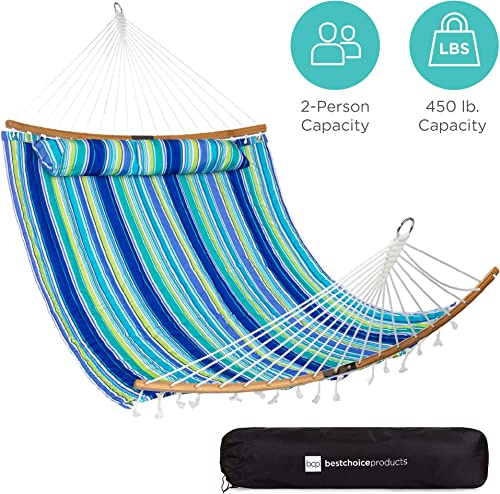Best Choice Products 2-Person Portable Quilted Curved Hammock for Outdoor, Patio, Camping, w 450lb Capacity, Curved Bamboo Spreader Bar, Carry Bag – Blue Green Stripe