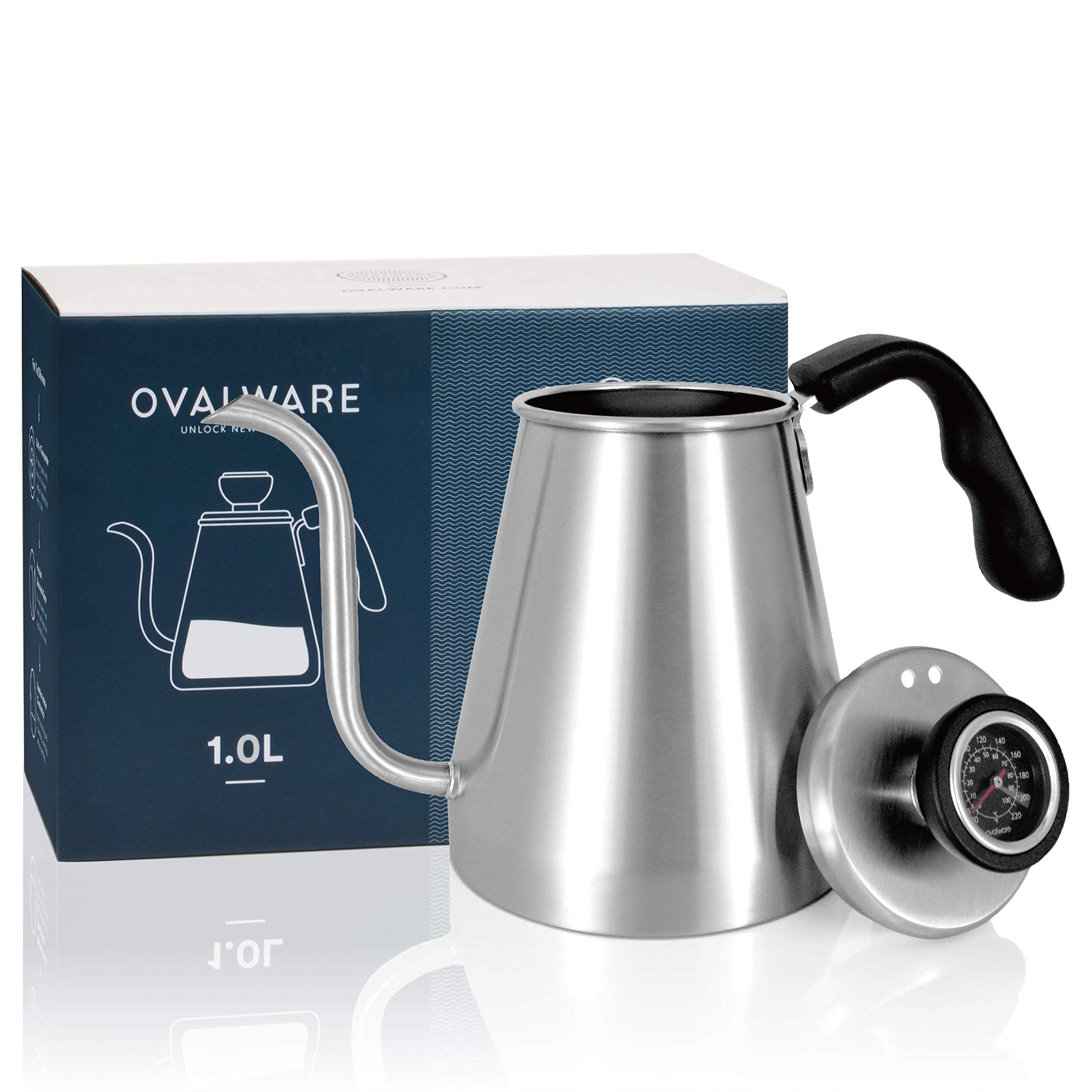 Pour Over Coffee Kettle and Tea Kettle with Built-in Thermometer 1.0L/34oz - Ovalware RJ3 Stainless Steel Drip Kettle with Precision Gooseneck Spout for Home Brewing, Camping and Traveling by ovalware