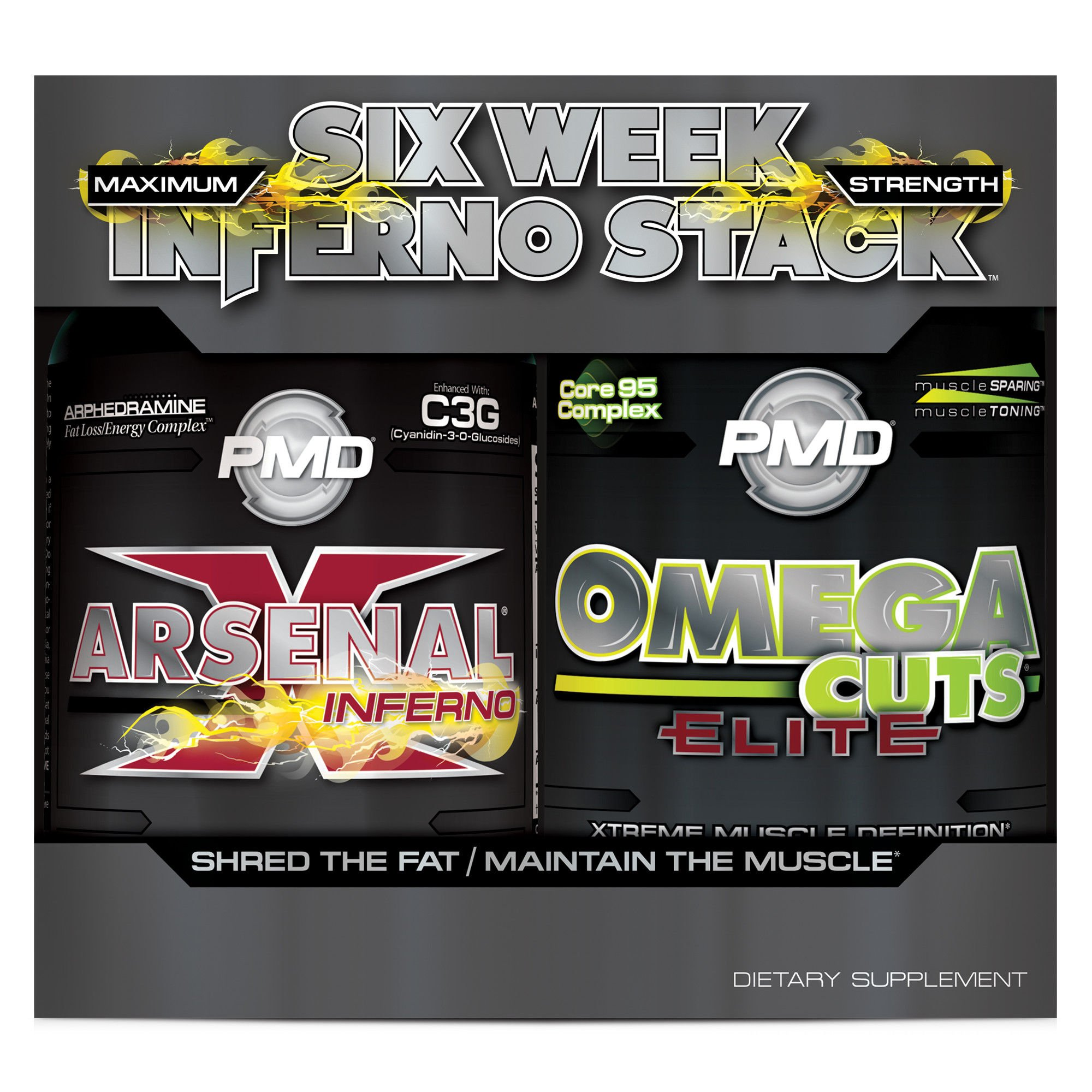 PMD Sports Six Week Inferno Stack - Maximum Strength Fat Burner and CLA Omega Fatty Acid to Lose Fat Fast and Increase Muscle Tone - Arsenal X Inferno/120 Liquid Gels, Omega Cuts Elite/180 Softgels by PMD (Image #1)