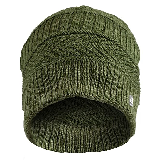 Amazon.com  Olann Green Woven Detail Beanie - Irish Knit Beanie Hat ... 692cb51114c