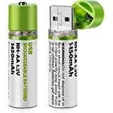 BlueBeach® USB Rechargeable Piles AA Cell MH-AA 1.2V 1450mah (Pack de 2)