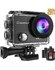 Crosstour Action Cam 4K 16MP Wifi Camera Ultra HD Unterwasser Kamera Helmkamera Wasserdicht mit 2.4G Fernbedienung 2 verbesserten Akkus und Montage Zubehör Kit
