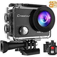 Crosstour Action Camera 4K 16MP Wifi Underwater 30M with Remote Control IP68 Waterproof Case