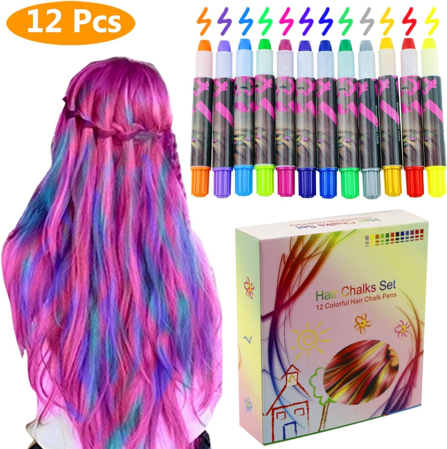 Philonext Plumas de Tiza Coloridas cerosas Profesionales del Pelo Color de Pelo Temporal no tóxico del Brillo de Las Plumas de Tiza (12 Colors)